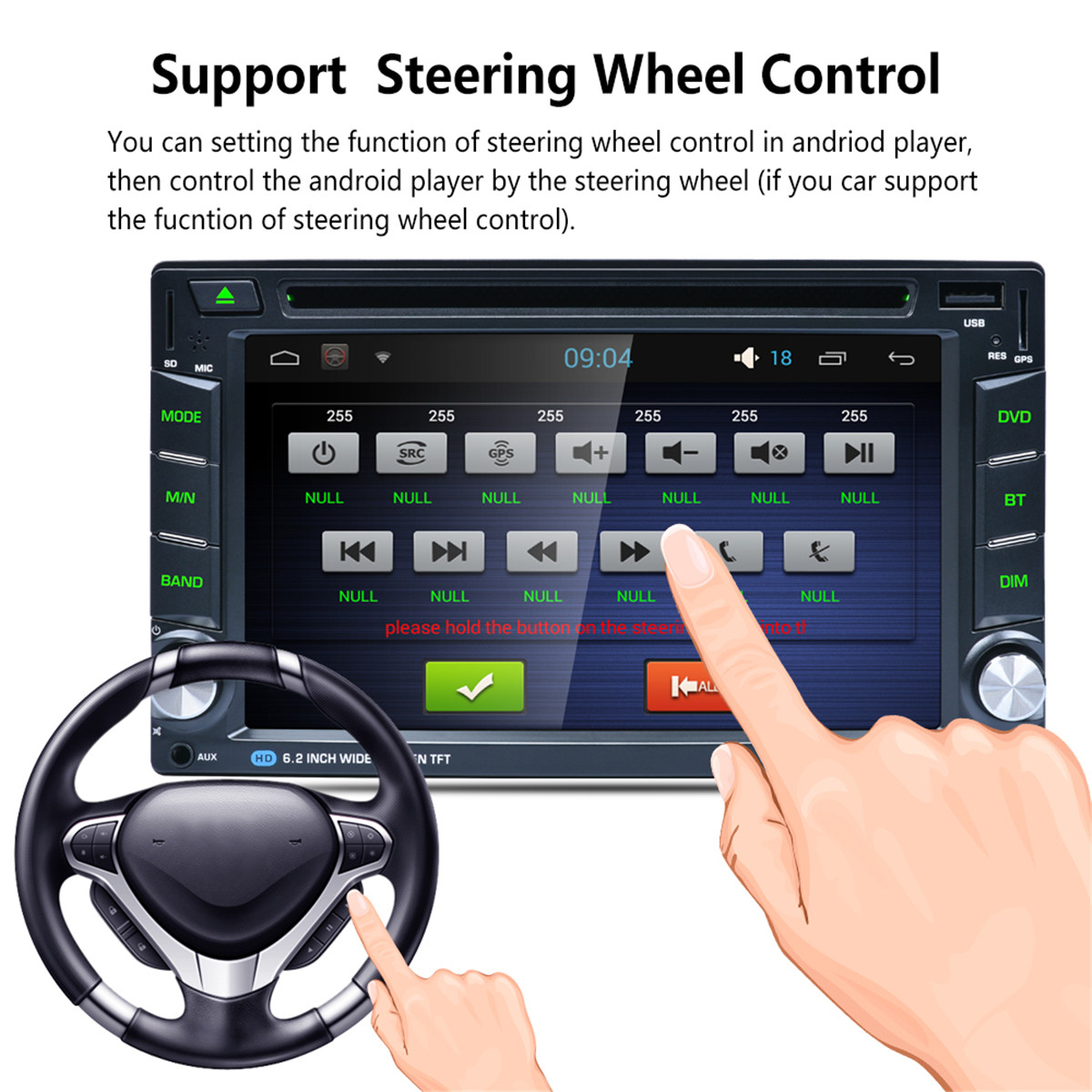 1080P HD Multi-Touch Screen Android WiFi Bluettooth Car DVD FM AM Radio GPS Beidou MP5 Player