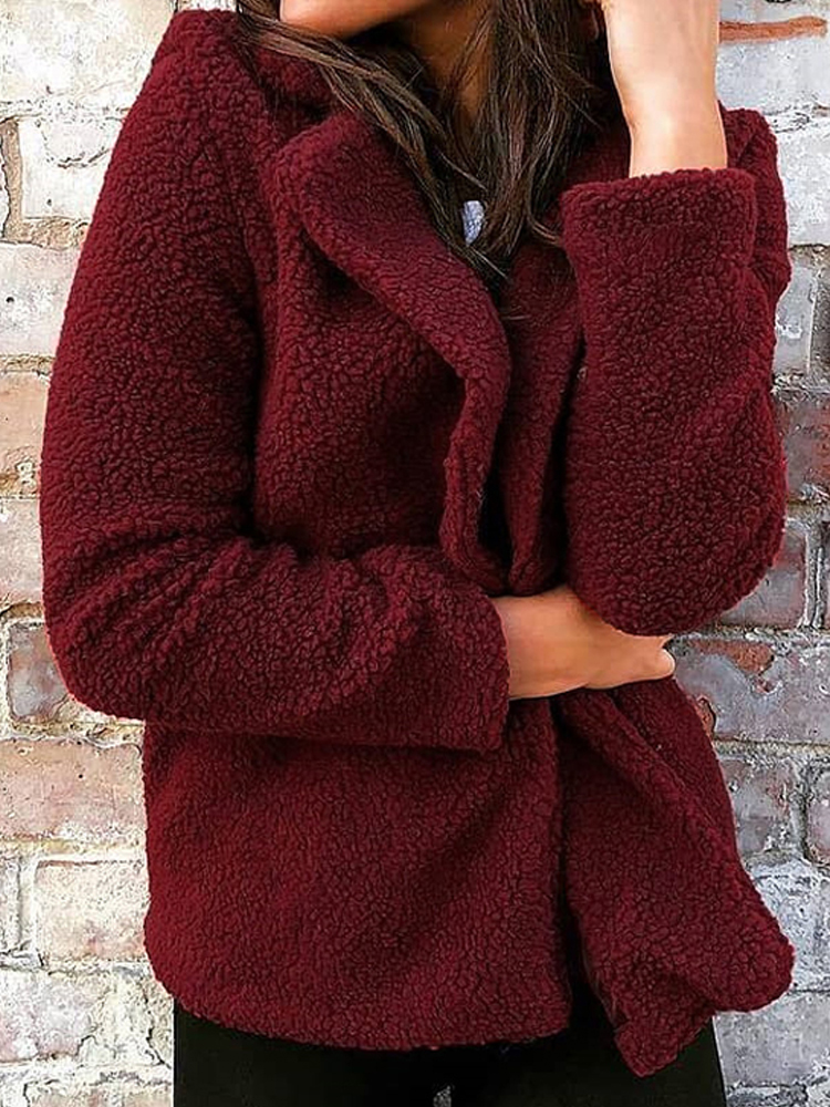 Women Winter Long Sleeve Fluffy Warm Pure Color Coats Overcoat