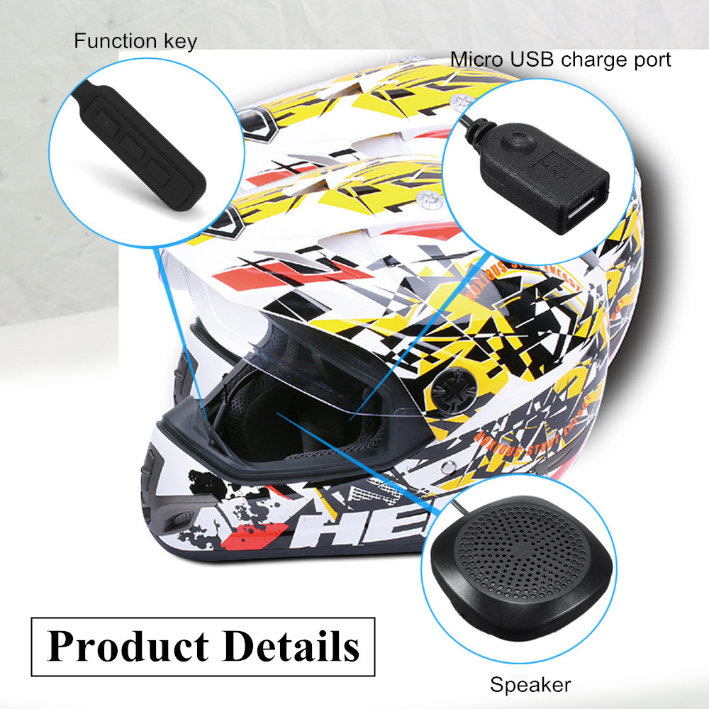 Wireless Motorcycle Helmet bluetooth 4.2 Headset HiFi Speaker Handsfree Intercom