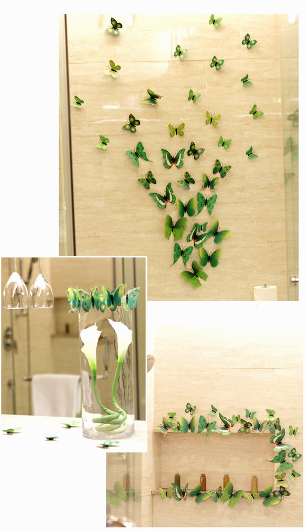 12 Pcs PVC Butterfly 3D Wall Stickers Home Decor Adhesive Wall Decoration