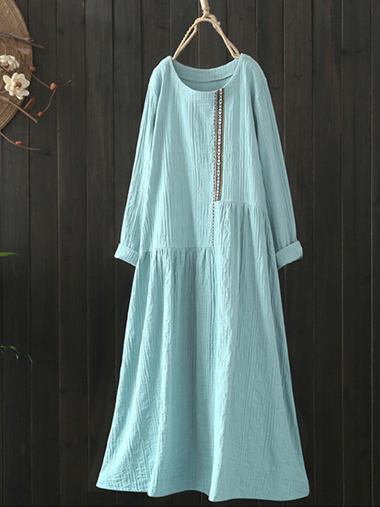 Women Cotton Loose Solid Color Long Sleeve Pockets Dress