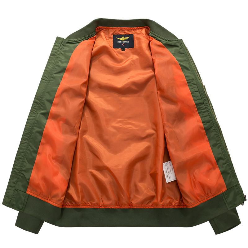 Mens Spring Autumn Flight Jacket Pure Color Bomber Jacket