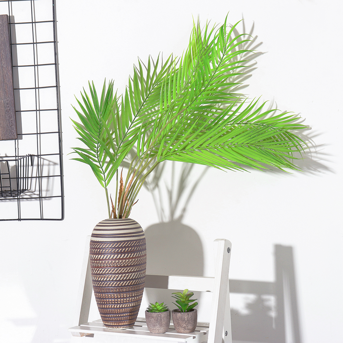6/9 Branches Green Palm Leaves Plastic Fake Plant Artificial Leaf Home Adornment Decorations