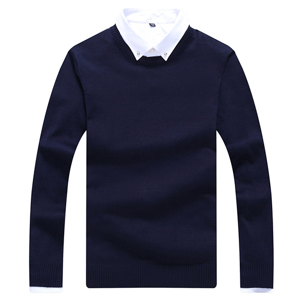 Mens Casual O-neck Collar Knitted Sweater Solid Color Slim Fit Pullover Sweater