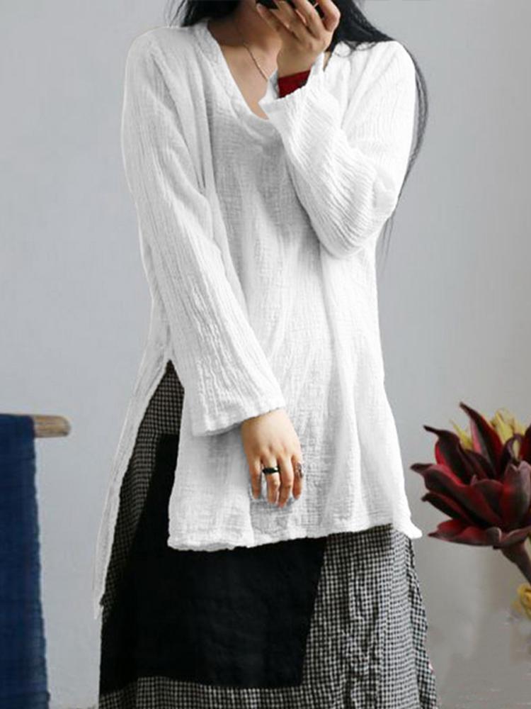 Women Retro Long Sleeve Split Linen Cotton Baggy Blouse