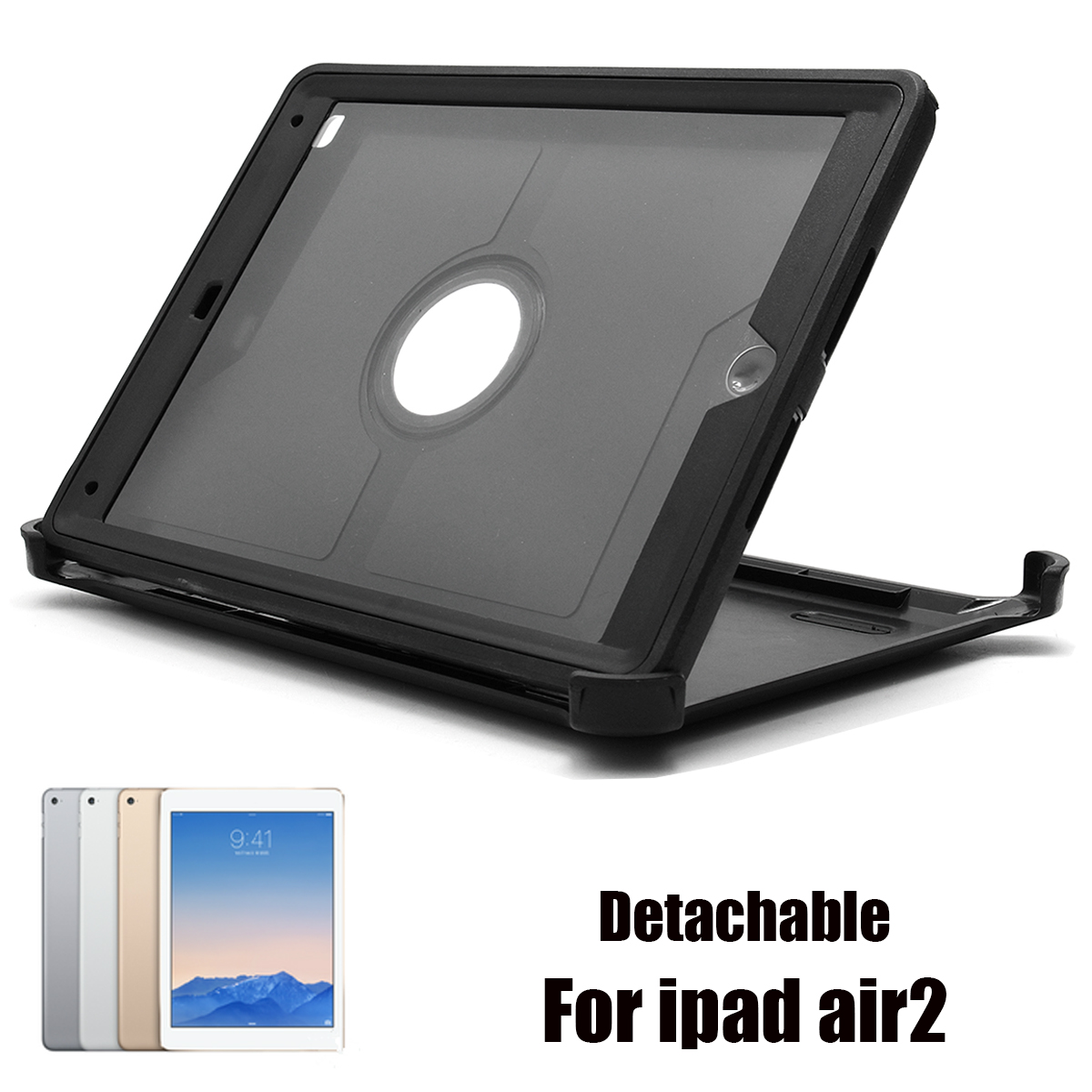 Detachable Adjustable Kickstand Holder Defender Black Hard Protective Case for iPad Air 2
