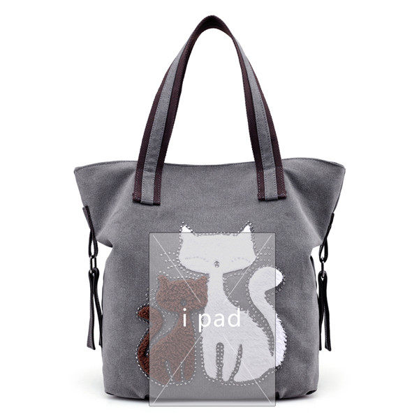 Women Cat Canvas Tote Bags Casual Shoulder Bags Capacity Shopping Bags