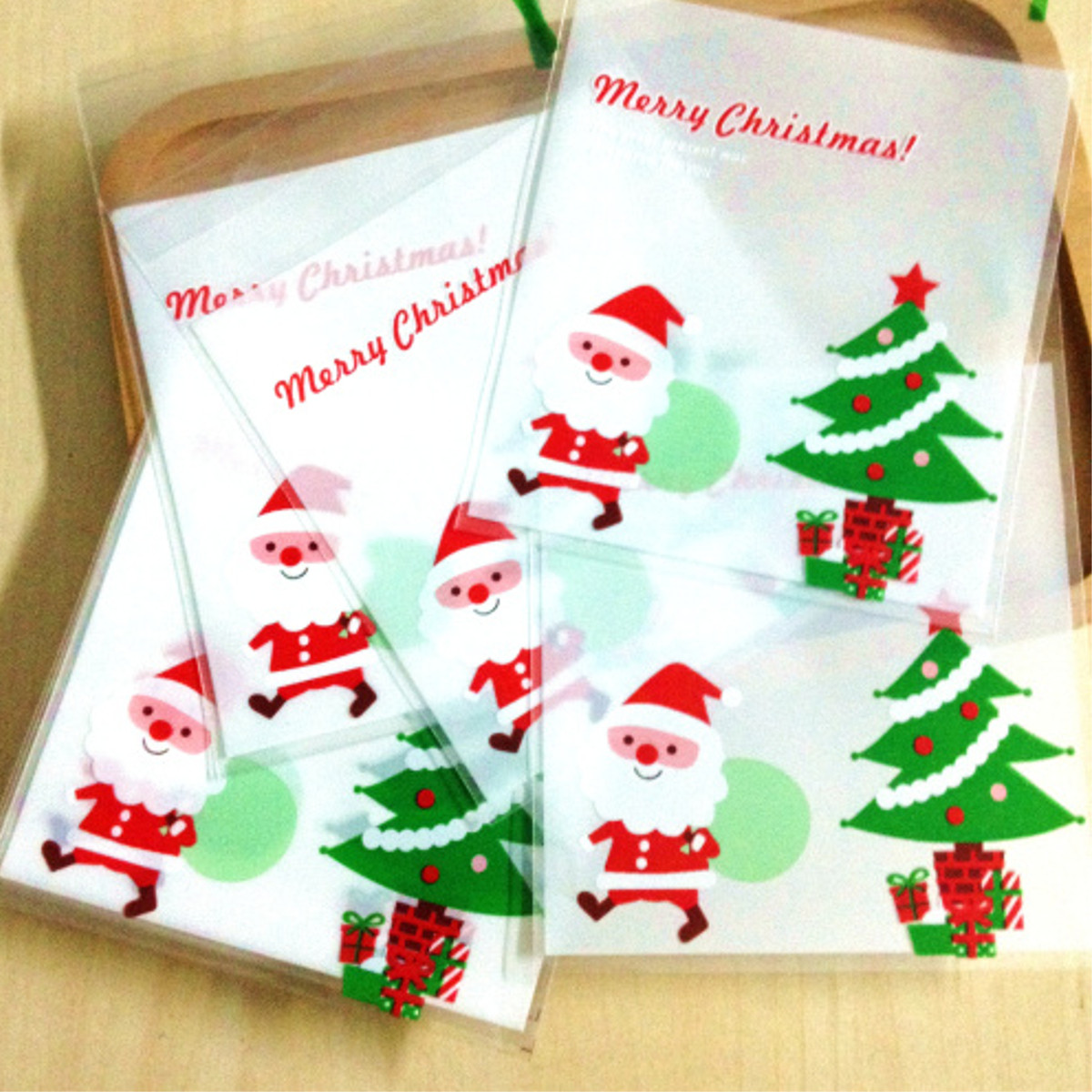 100pcs Christmas Biscuit Candy Gift Cookie Sweet Present Bag