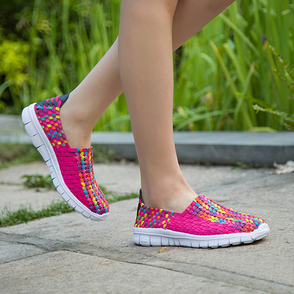 Big Size Women Summer Breathable Sneakers Knit Flat Athletic Shoes Colorful Shoes
