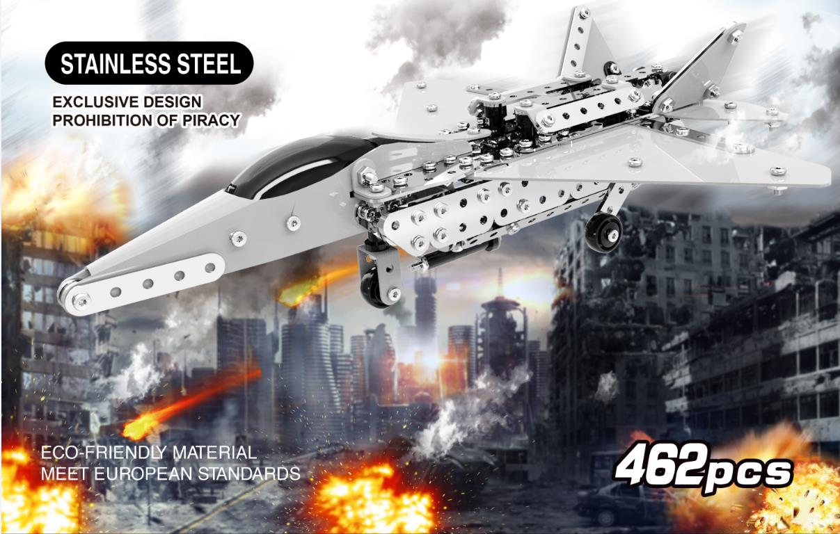 MoFun 3D Metal Puzzle Model Building Stainless Micro Steel World Plane Fighter Toy