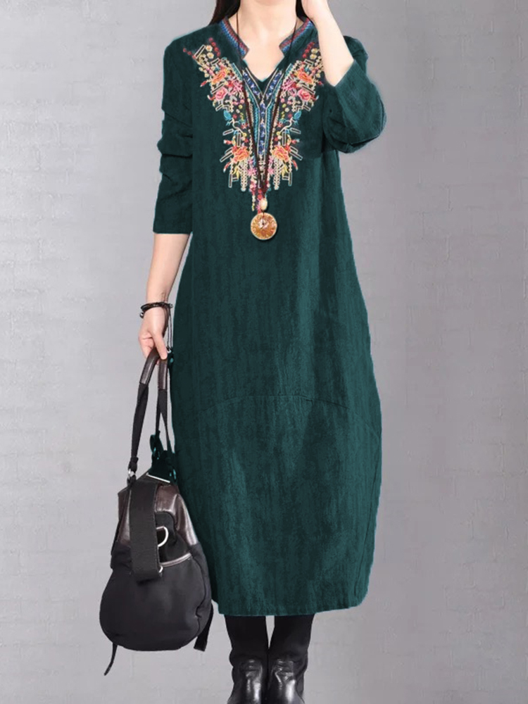 Vintage Women Embroidery V-Neck Dress