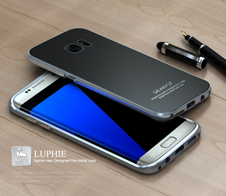 Luphie Ultra Thin Aluminum Metal Frame+Tempered Glass Back Cover Case for Samsung Galaxy S7/S7 Edge