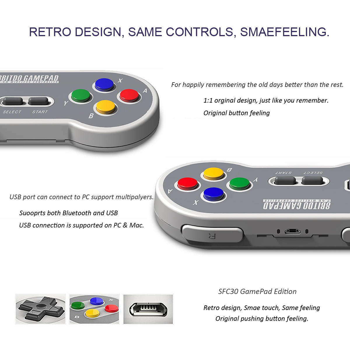 8Bitdo SF30 SN30 2.4G Wireless Gamepad Controller For SNES SFC Classic Edition Game