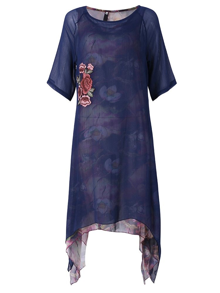 Elegant Women Embroidery Printed Irregular Hem Layered Dresses