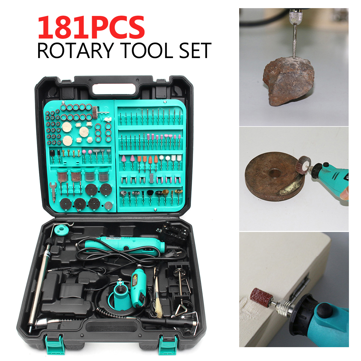 181Pcs Mini Drill Electric Grinder Sanding Polishing Rotary Tool with Accessory Set