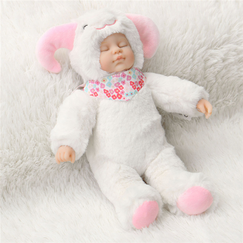 25cm Cute Sheep Clothe Newborn Sleeping Soft Vinyl Reborn Baby Doll Gift Toy