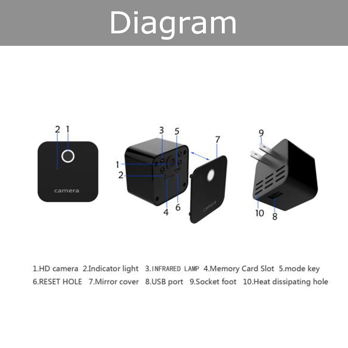 1080P FHD Wall Charger Hidden Camera Loop Recording Buit in Microphone