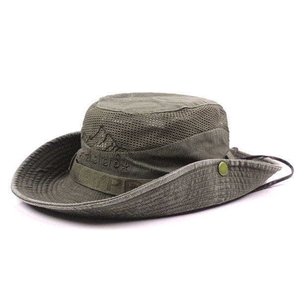 Mens Cotton Embroidery Bucket Hats Outdoor Fisherman Hat