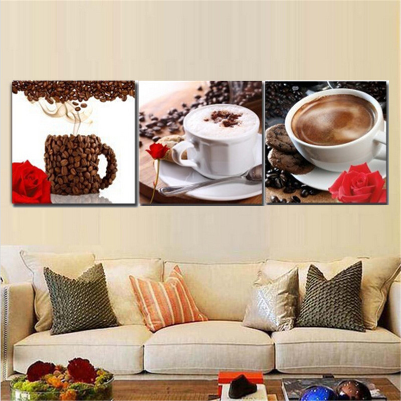 3Pcs Coffee Combination Painting Printed On Canvas Frameless Drawing Home Wall Decor Gift