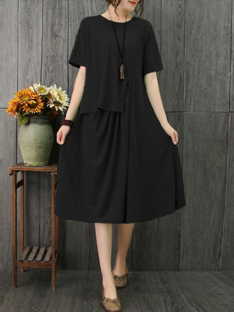 Plus Size Casual Short Sleeve Solid Color Pleated Dress