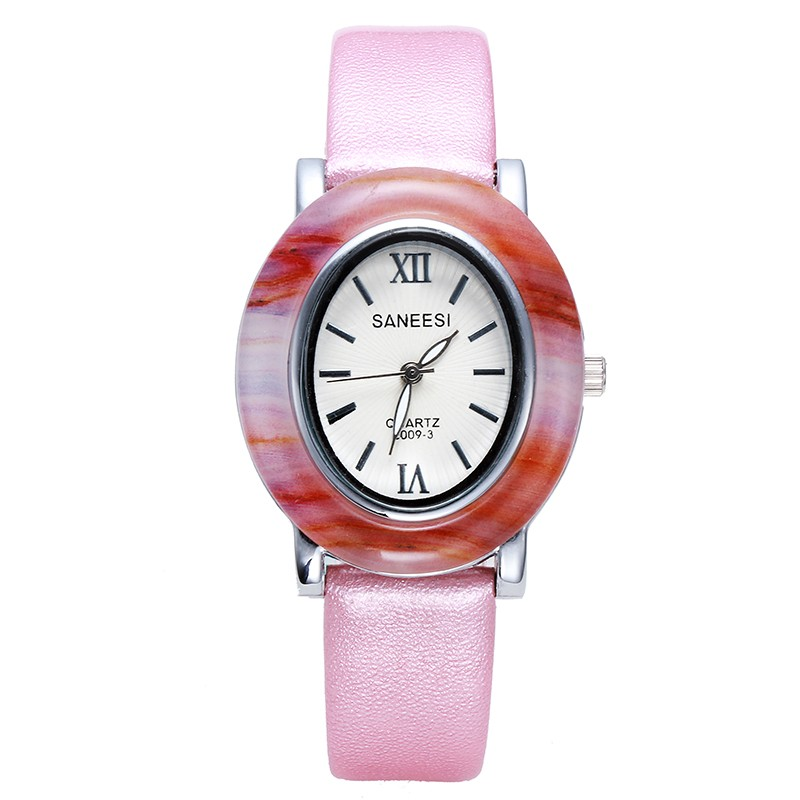 SANEESI Luxury Lady Watch Oval Imitation Jade Dial Leather Band Women Dress Clock Wristwatch