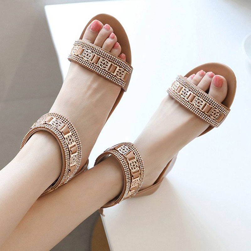 Large Size Peep Toe Zipper Wedge Sandals