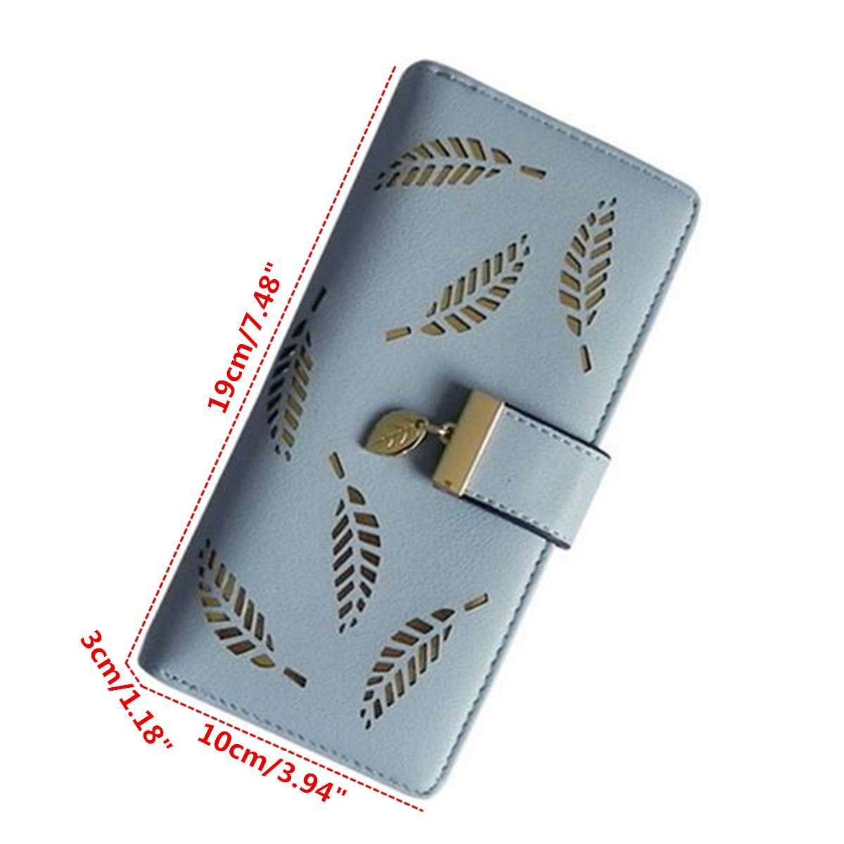 Women Lady PU Leather Hollow Leaves Long Wallet Case Card Holder Phone Bag for Phone under 6 inches