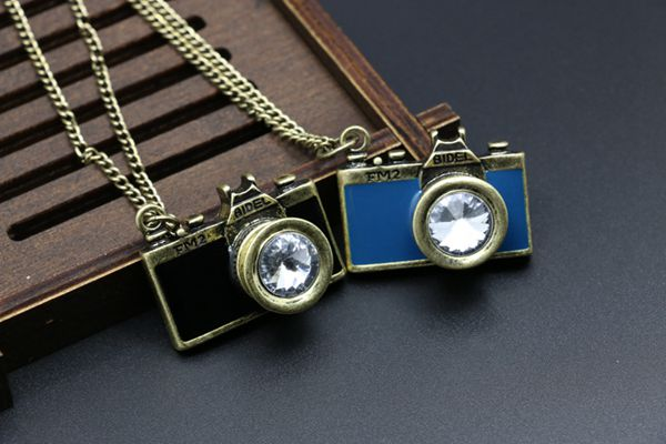 Vintage Gemstone Enamel Camera Shaped Pendant Sweater Necklace