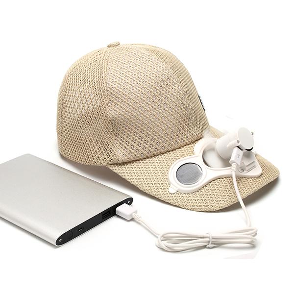 Mens Mesh Breathable Baseball Cap With Solar Power Cooling Fan Adjustable Fan Snapback Hat