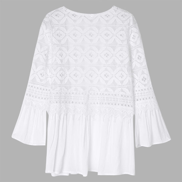 Casual Women Hollow out Lace Splicing Flare Sleeve Cardigan Blouse