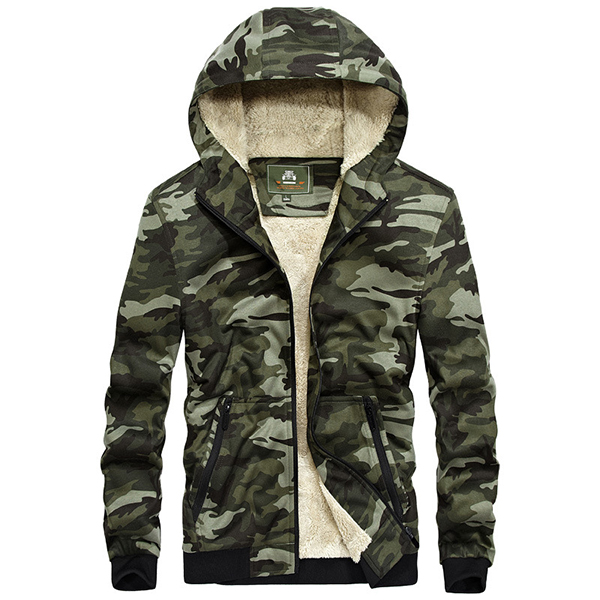 Autumn Winter Mens Cotton Padded Casual Plus Size Loose Cashmere Camouflage Jackets Youth Knit Shirt