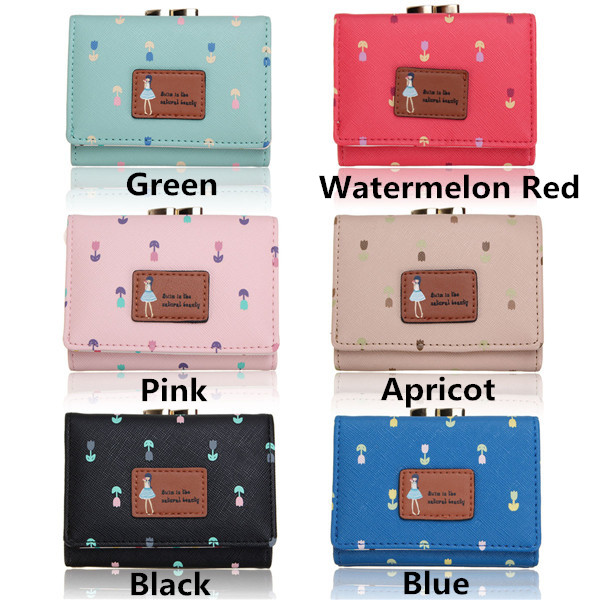 Women Floral Short Wallet Girls Candy Color Cute Dot Hasp Purse Card Holder Coin Bags