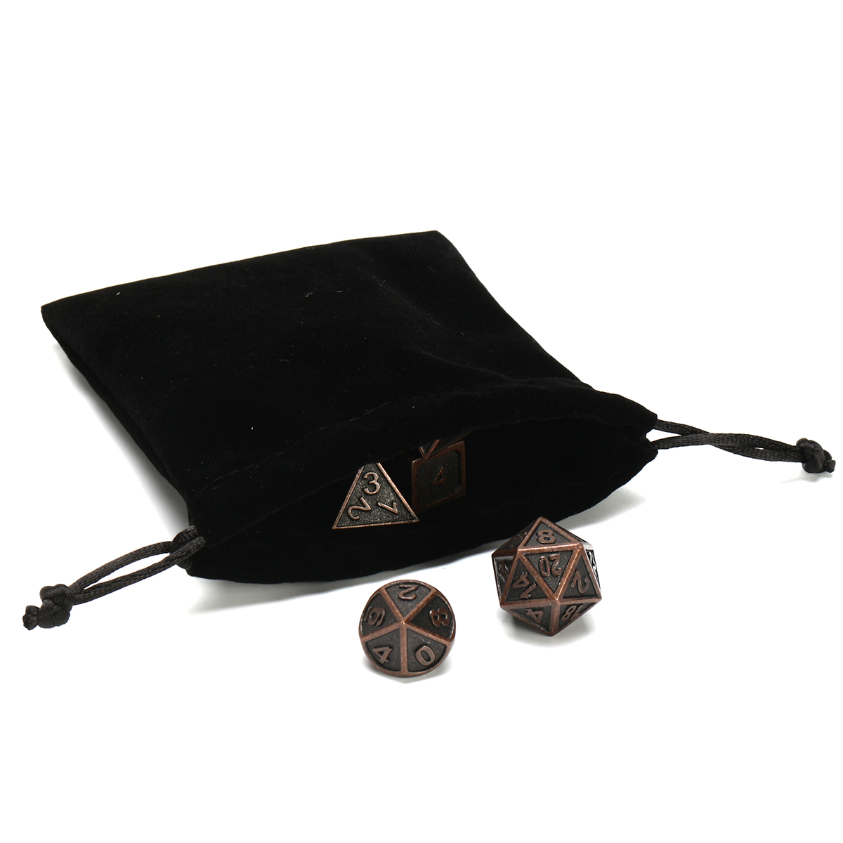 ECUBEE Solid Metal Polyhedral Dice Antique Color Role Playing RPG Gadget 7 Dice Set With Bag