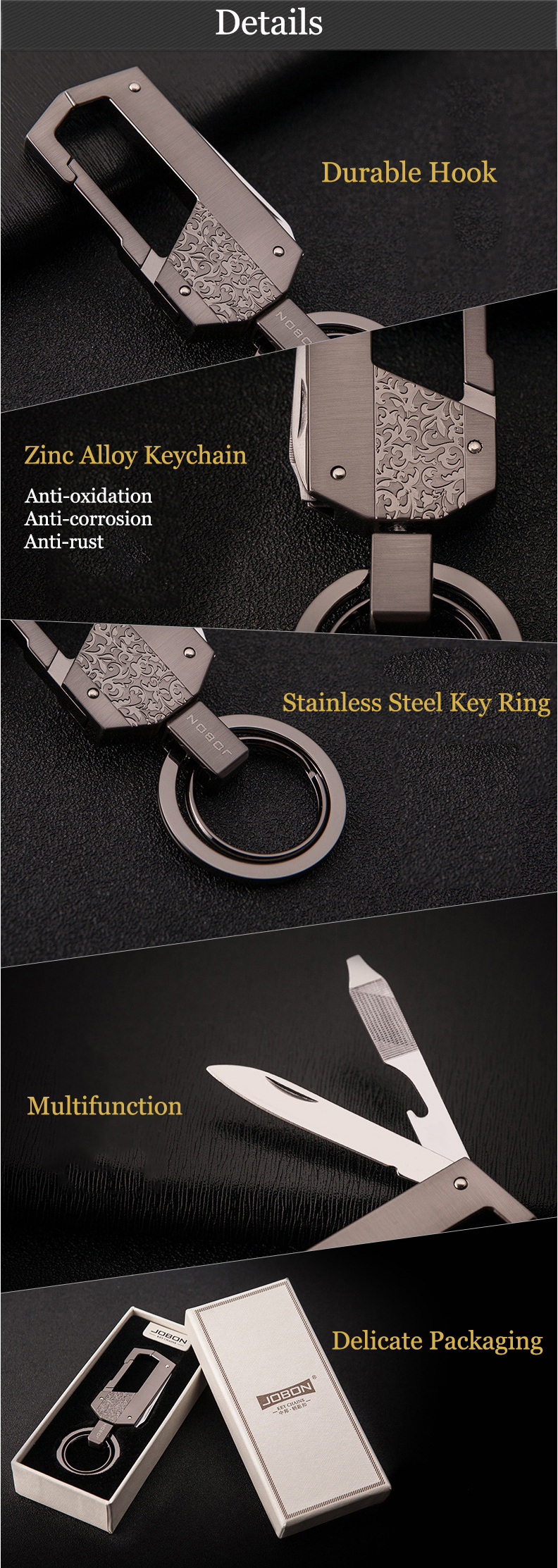 Jobon ZB-021 Multifunction Key Chain Car Key Ring Bottle Opener Knife Nail File Screwdriver For Men