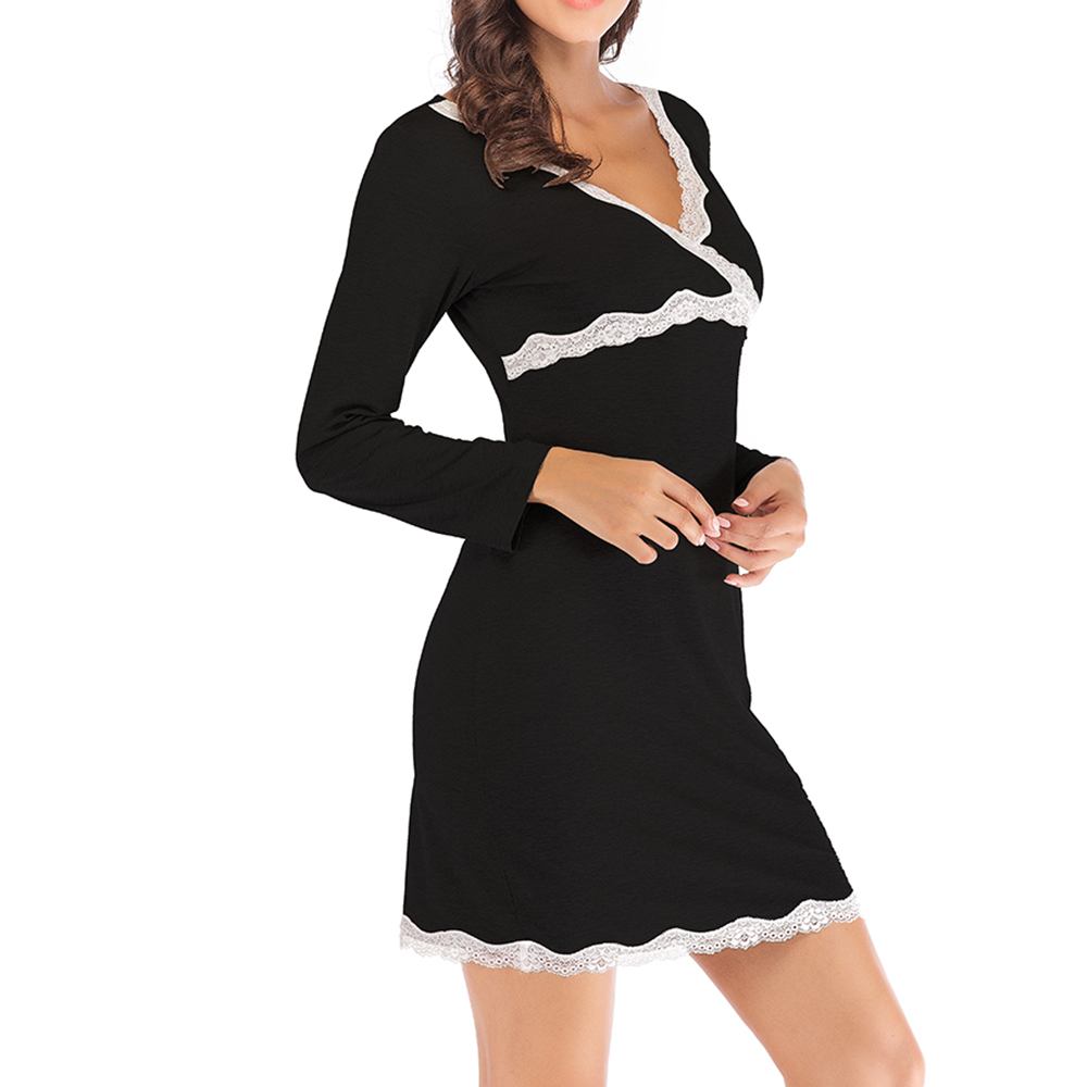 Banggood Soft Long Sleeve Skin-friendly Modal V Neck Comfort Nightgown Sleepwear For Women
