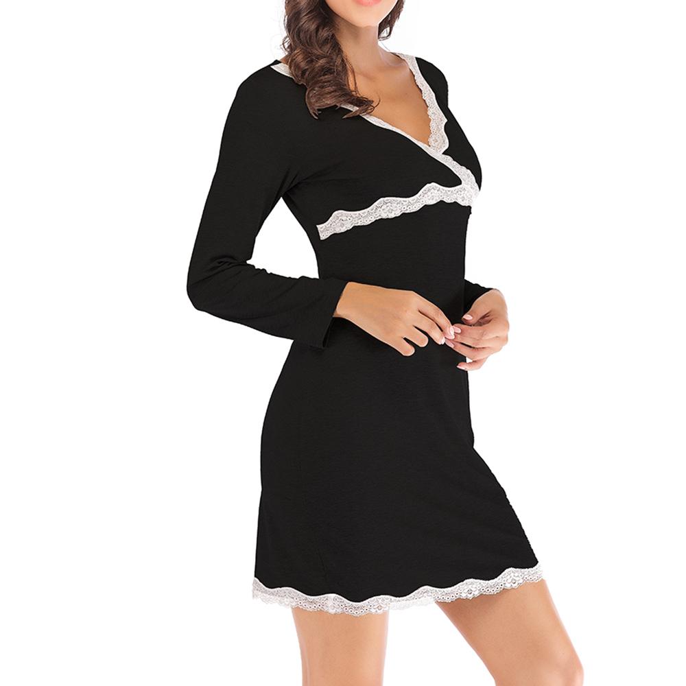 Long Sleeves Soft Modal V Neck Homewear Dress