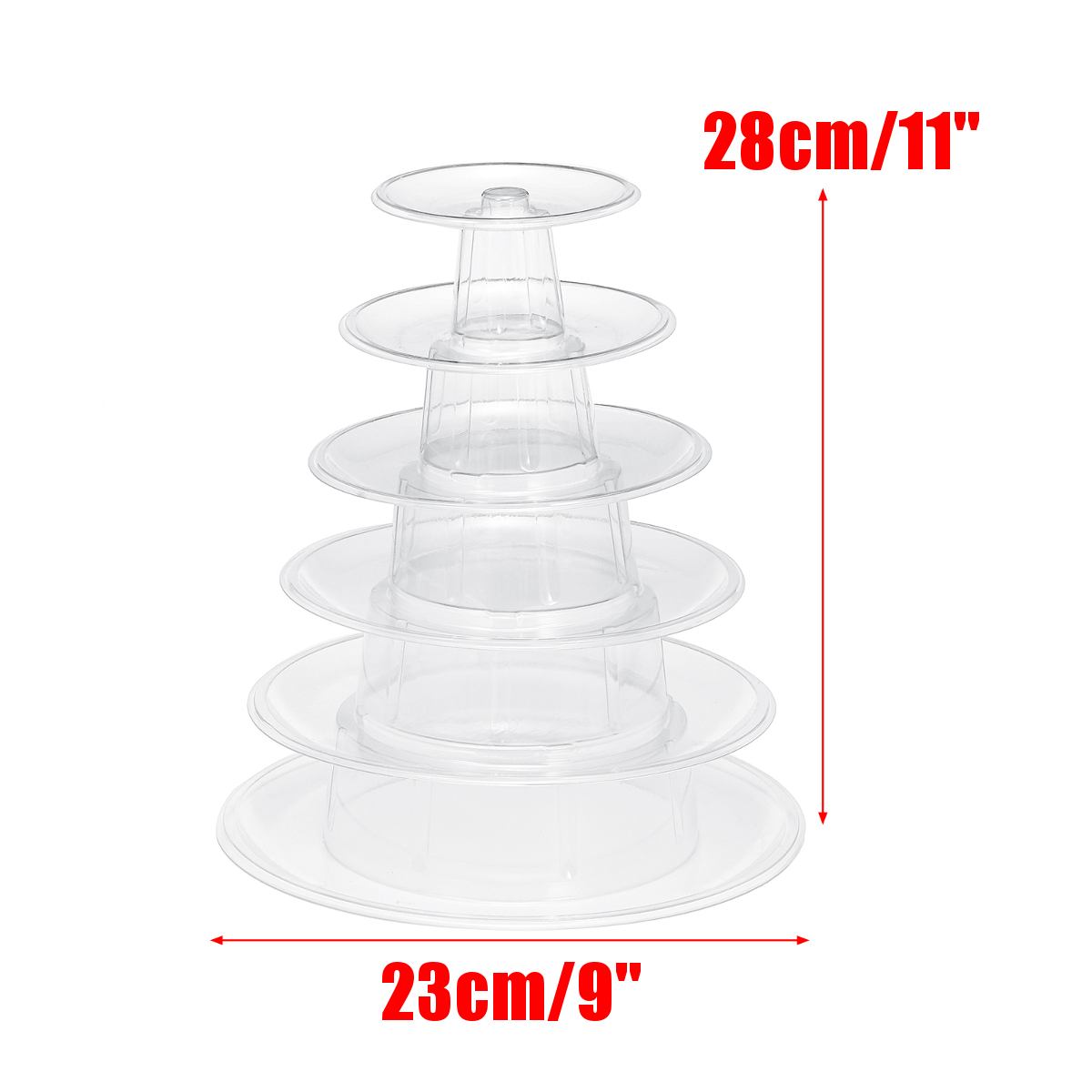 6 Tier Clear Round Macaron Tower Display Stand Pyramid Rack Bridal Wedding Party Decorations