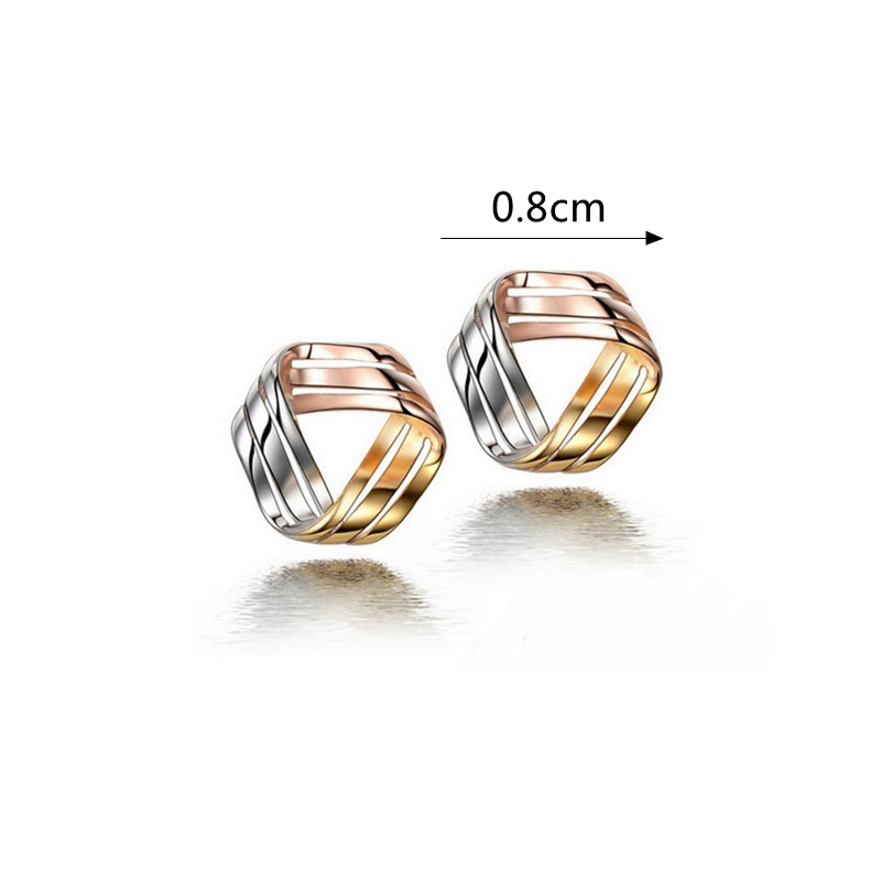 Women's 925 Sterling Silver Geometric Earrings Triple Color Ear Stud Gift for Party