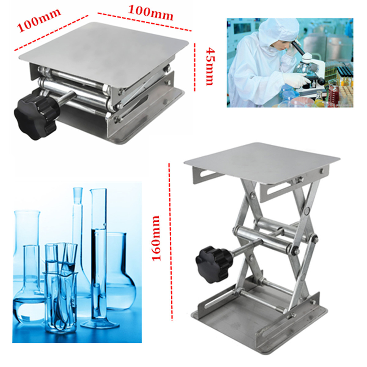 100×100×160mm Stainless steel lifts laboratory lifts manual control Lab Lifting Platforms 4×4 Inch