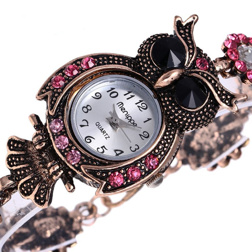 Vintage Owl Dial Case Bracelet Watch Gift Watches for Women