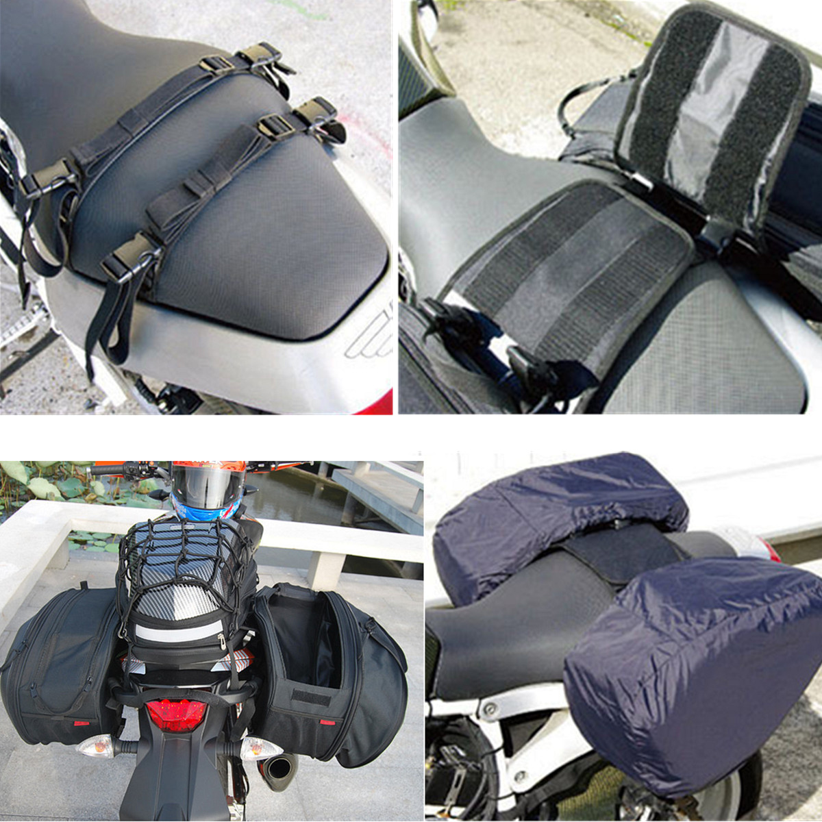 36L-58L Large Capacity Luggage Saddle Bag Motorcycle Rear Seat Multi-use Expandable