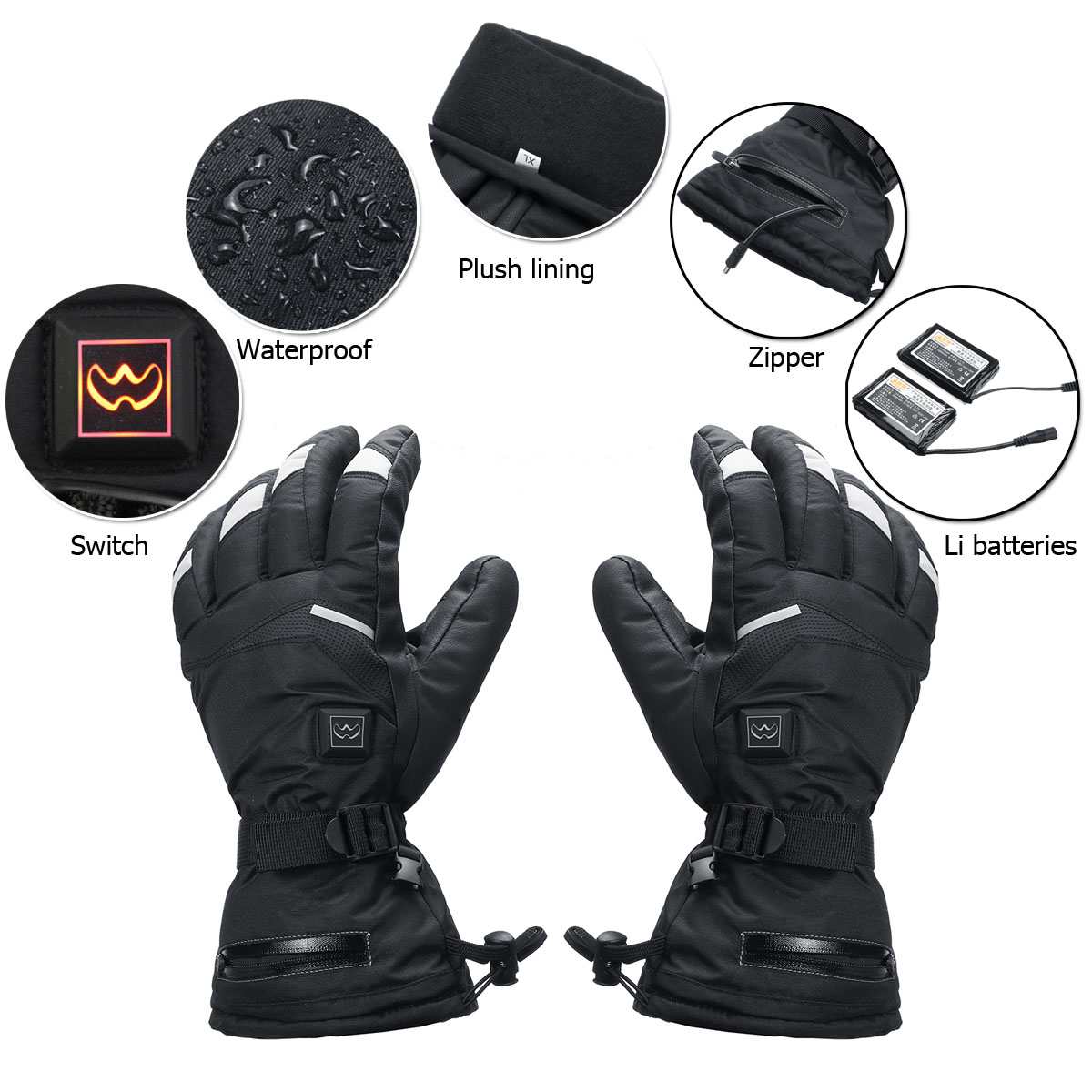 WARMSPACE 3.7V 3600mah Electrically Heated Gloves Motorcycle Winter Warmer Outdoor Skiing