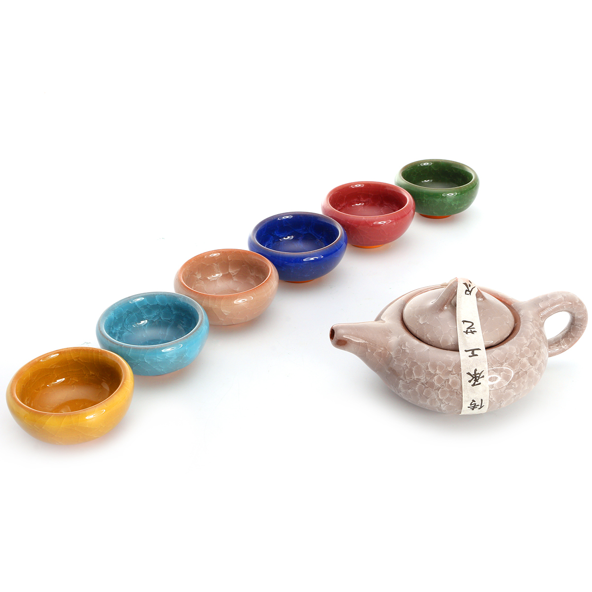 7Pcs Colorful Vintage Ceramic Chinese Crackle Tea Set Teacup Tea Pot Porcelain