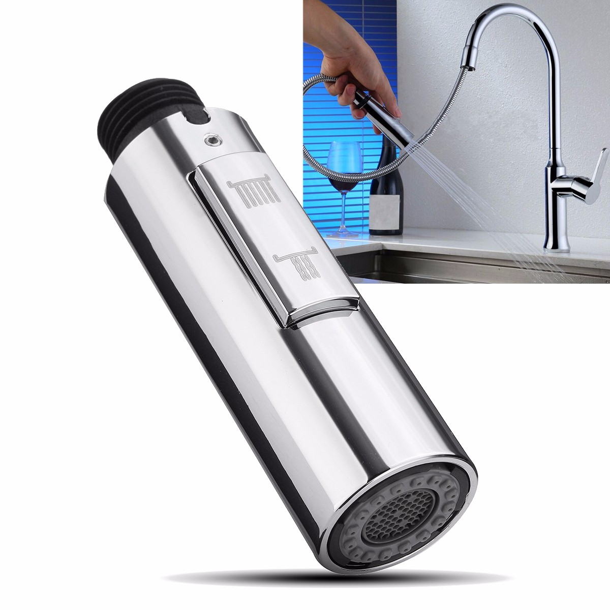 2 Function Replacement Pull Out Spray Mixer Tap Bath Sink Faucet Shower Head