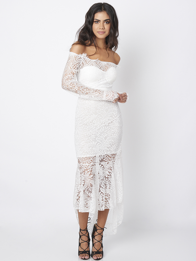 White Sexy Women Long Sleeve Lace Off Shoulder Fishtail Maxi Dresses