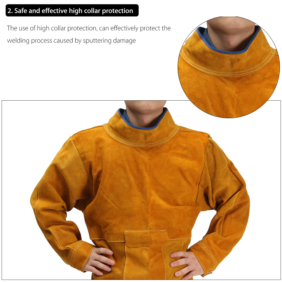 Durable Leather Welding Long Coat Apron Protective Clothing Apparel Suit