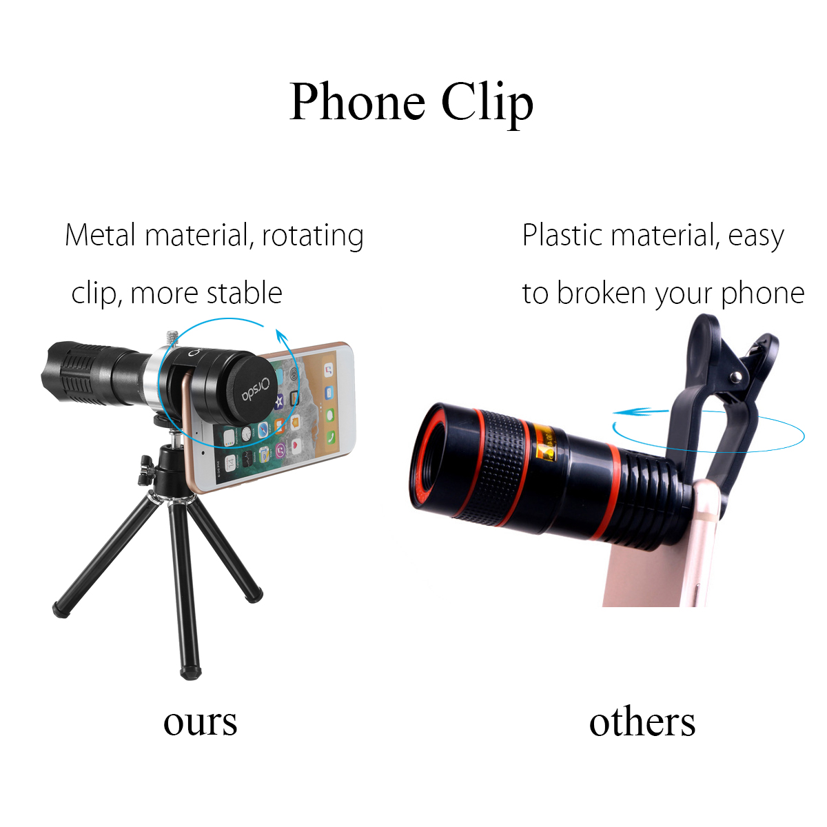 Universal 14X Zoom Wide Angle Camera Mobile Lens Telescope Phone Clip+Tripod Holder for Smartphone