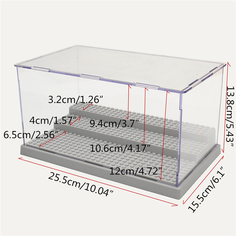 3 Steps Clear Acrylic Display Case Dustproof Tray Protection Toys DIY Box