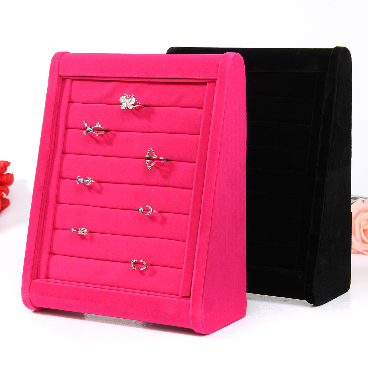 Velvet Earrings Ring Jewelry Display Organizer Stand Storage Case