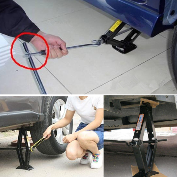 Home Scissor Wind Up Jack Lift Crank Speed Handle Emergency 1.8T For Vehicle Van Motorcycle